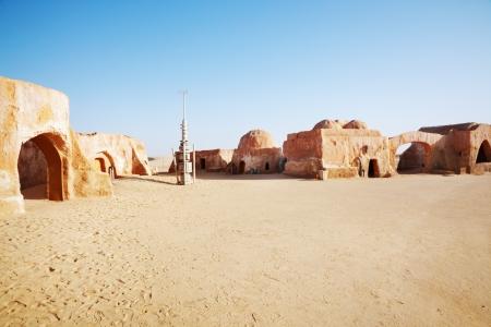 movie star: Star wars decoration in Sahara desert, Tunisia Stock Photo