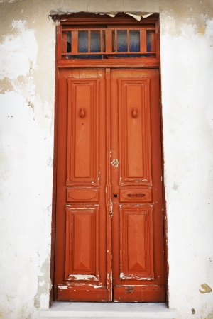 Old blue door made of wood photo