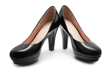 Black shoes on white background photo