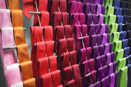 Different neckties in a shop
