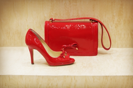 Red shoe and clutch bag photo