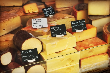 health food store: Different cheeses in a shop Stock Photo