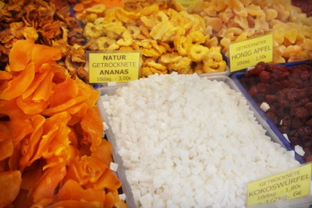 Dried fruit in a market stall photo