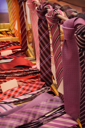 Different neckties in a shop photo