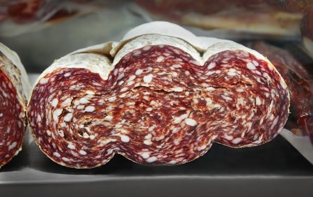Italian sausage products in market photo