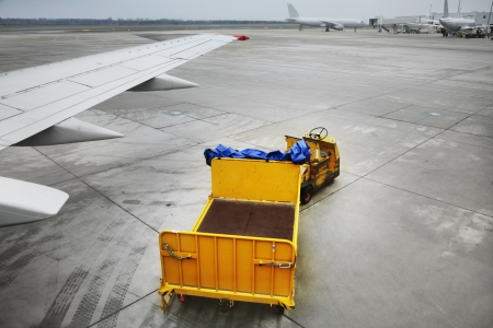 Freight trolleys on the runway photo