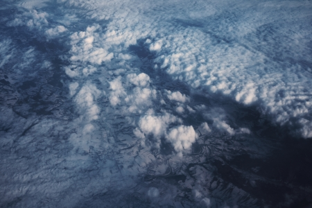cloud drift: Sky and clouds from flying airplane Stock Photo