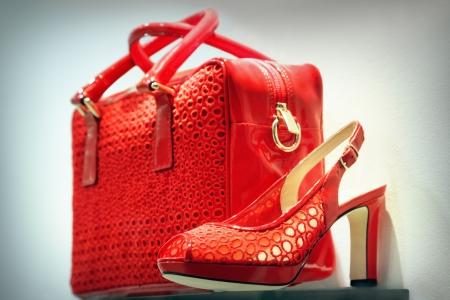 Roter Schuh und Handtasche Lizenzfreie Bilder