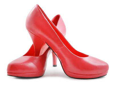 Red shoes on white background photo
