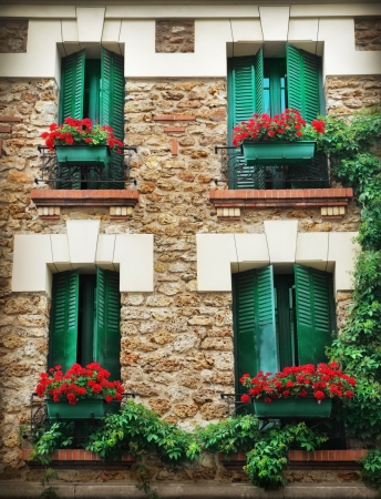 Windows and balconies of old buildings in Paris France photo