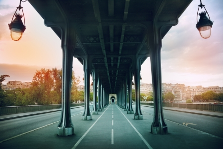 The Pont de Bir-Hakeim bridge in Paris, France photo