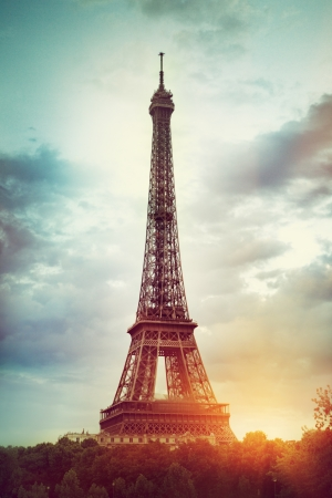 built tower: The Eiffel Tower in Paris Stock Photo