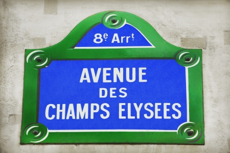 retail place: Avenue des Champs-Elysees street sign Stock Photo