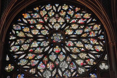 church window: Rose window of the Sainte Chapelle, Paris, France
