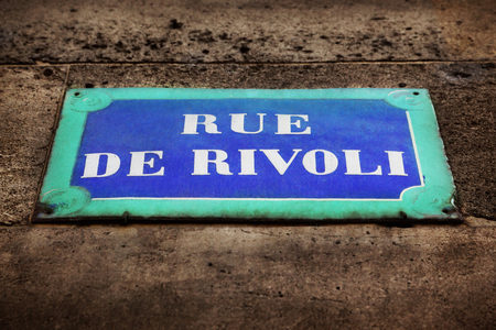 Rue de Rivoli street sign photo