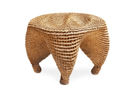 cane chair: Wicker chair on white backgound