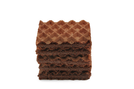 Chocolate wafers on white  photo