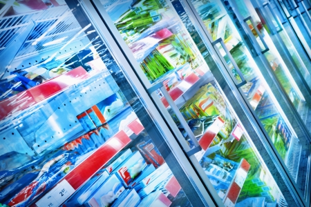 refrigerator with food: Various products in a supermarket Stock Photo