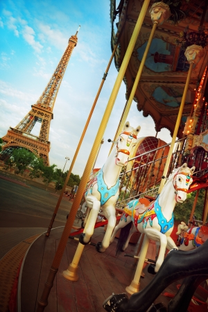 View of the Eiffel Tower and the merry-go-round photo