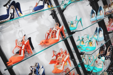 shelve: Shoes on a sales stand