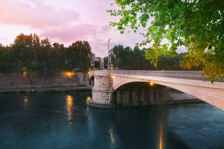 lazio: Garibaldi bridge in Rome, Italy Stock Photo