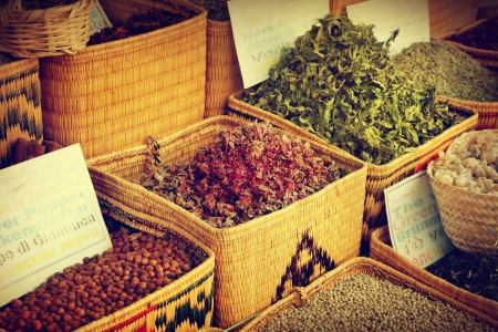 Spices for sale at the bazaar photo