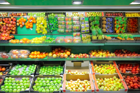 exotic fruits: Fruits in supermarket