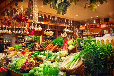시장 마구간에 야채