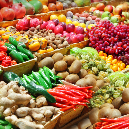 Fruits and vegetables at a farmer photo