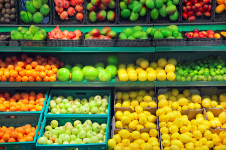 produce sections: Fruits in supermarket