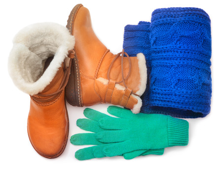 warm things: Winter shoes and accessories Stock Photo