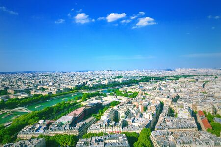 aerial view: Panorama of Paris from the Eiffel Tower, France