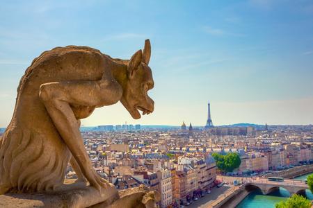 gargouille: La Gargouille de Notre-Dame vue sur Paris Banque d'images