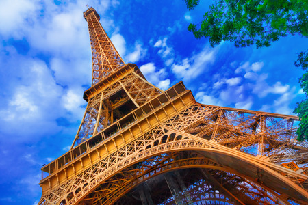 Eiffel Tower: The Eiffel Tower in Paris Stock Photo