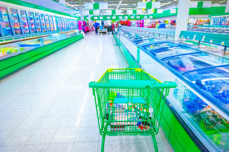 supermarket cash: Various products in a supermarket Stock Photo