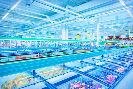 freezer: Various products in a supermarket Stock Photo