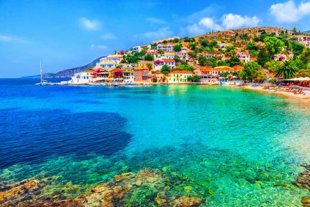 Greece: Assos beach in Kefalonia, Greece Stock Photo