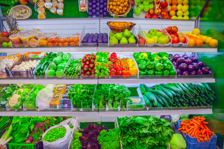 grocery shelves: Fruits and vegetables