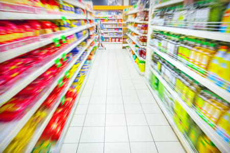 Various products in a supermarket Archivio Fotografico