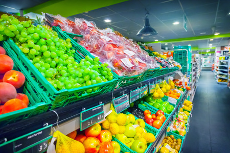 produces: Fruits in supermarket