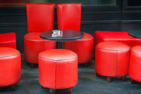 brasserie: Chairs in cafe Stock Photo