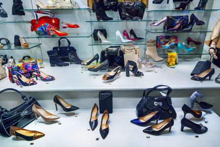 shop window: Shop window with bags and shoes
