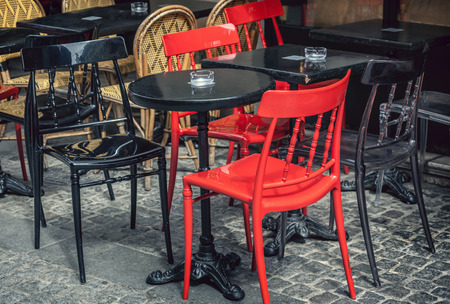 french cafe: Typical outdoor cafe in Paris Stock Photo