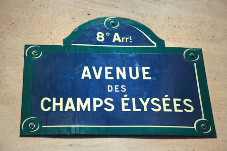 street sign: Avenue des Champs-Elysees street sign Stock Photo