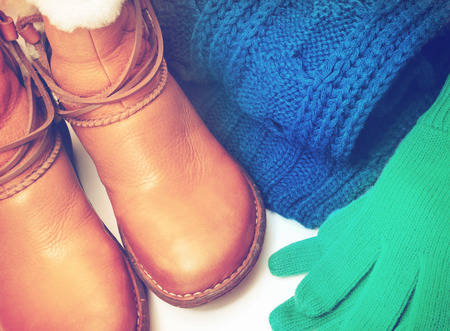 winter fashion: Winter shoes and accessories Stock Photo