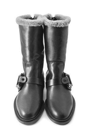 black boots: Black boots on white background