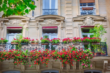 Facade of Parisian building Stock Photo