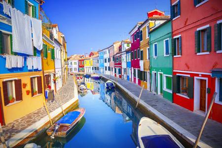 case colorate: Case colorate di Burano, Venezia, Italia Archivio Fotografico