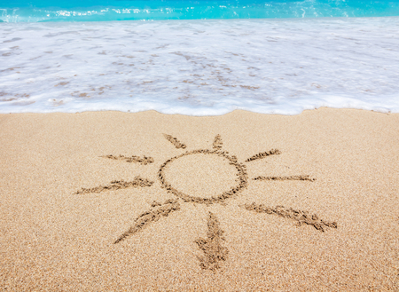 sand drawing: Sun drawing in the sand