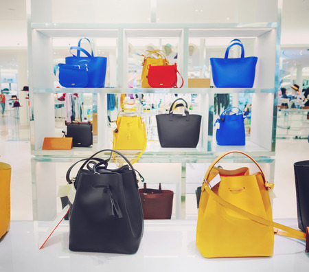 Shop window with bags